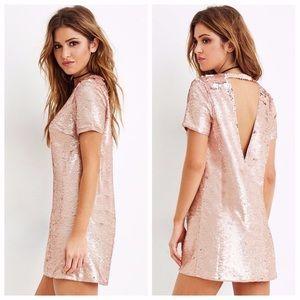 EUC Rose gold sequin mini dress